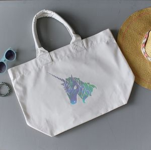 Unicorn Rainbow Foil Print Beach Bag - shopper bags