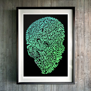'Sunset And Aqua Typo Skulls' Fine Art Giclée Print