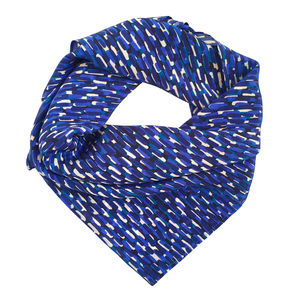 Abstract Blue Strokes Printed Silk Scarf - scarves