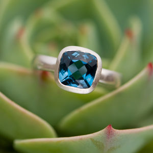 Blue Topaz Sterling Silver Ring - rings