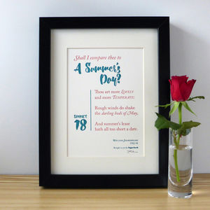 'Shall I Compare Thee?' Shakespeare Letterpress Print