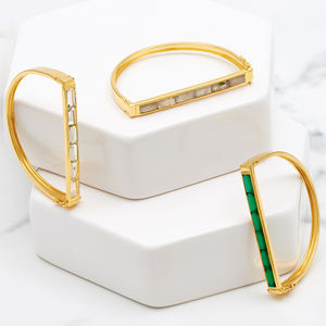 Gold Geometric Bangle With Gemstones Equilibrium - semi precious stones