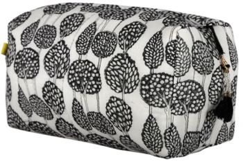 Lanka Tree Print Wash Bag In Aqua And Black