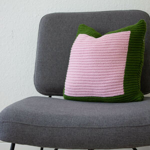 Hand Knit Colourblock Cushion In Green And Pink