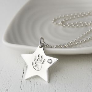 Silver Handprint Birthstone Star Charm Necklace