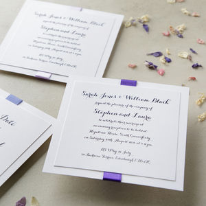 Elegance Purple Wedding Invitation - wedding stationery
