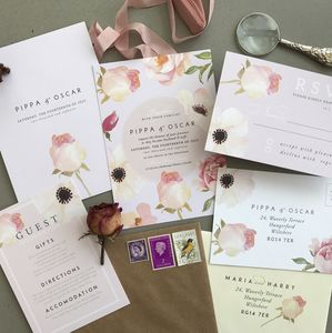 Florence Florals | Watercolour Wedding Invitation - invitations
