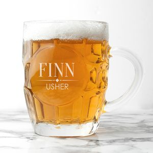 Personalised Wedding Dimpled Beer Glass - table decorations