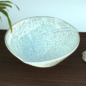 Handmade White Crackle Glaze Bowl - bowls