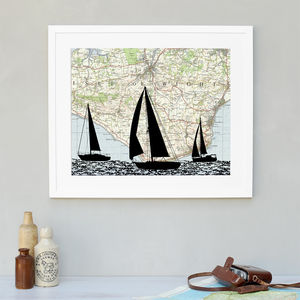 Personalised Vintage Map Sailing Boats - personalised