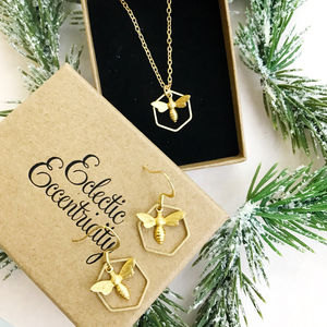 Bee Necklace And Earrings Set - necklaces & pendants