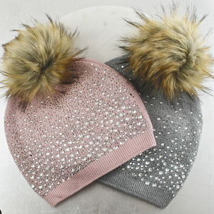 Crystal Coated Bobble Hat - new in fashion