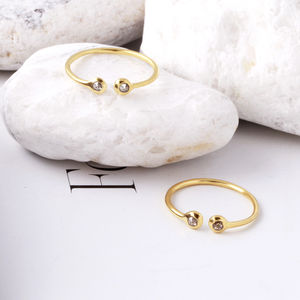 Diamond Slice And 18ct Gold Vermeil Ring - rings