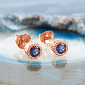Sapphire Birthstone Rose Gold Stud Earrings