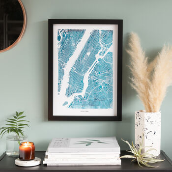 Turquoise Watercolour Map Print