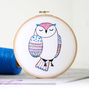 Owl Contemporary Embroidery Craft Kit - traditional toys & games