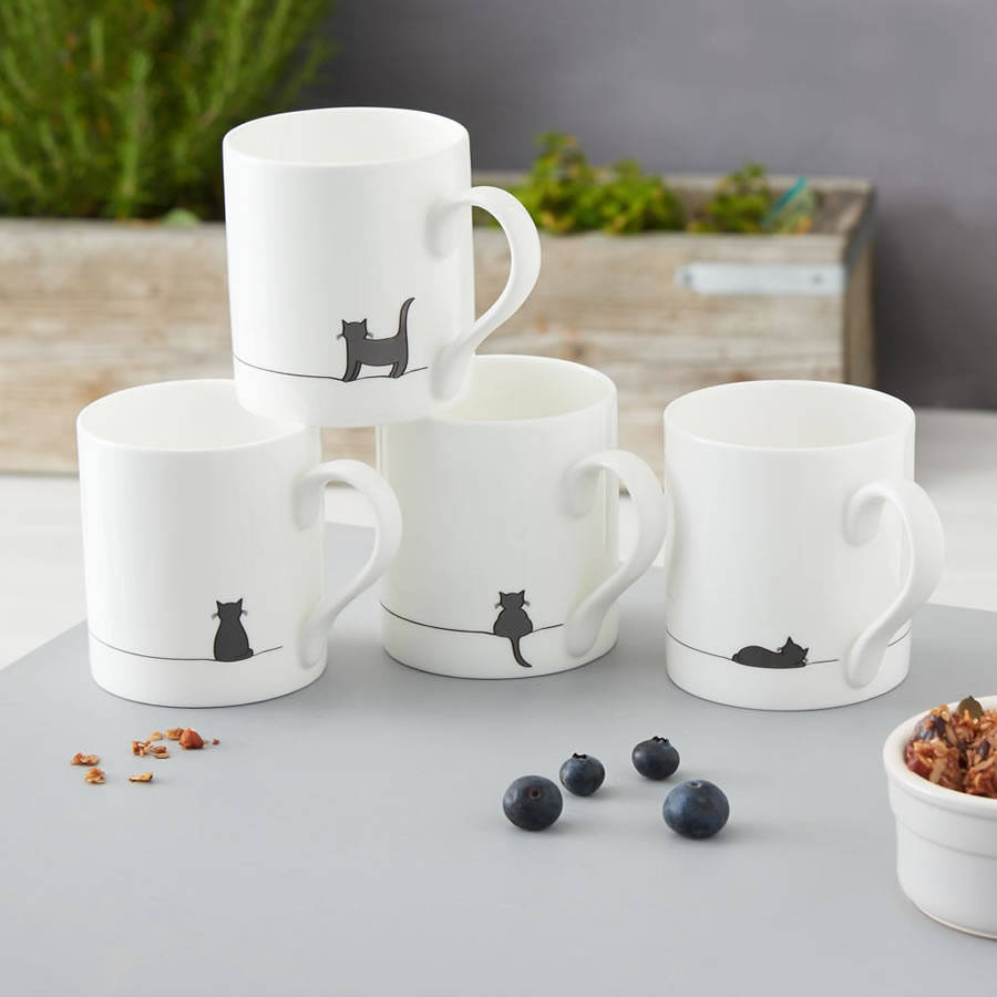 cat mugs set of four by jin designs