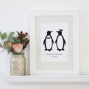 Personalised Penguin Pairs Print