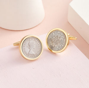 Gold Edition Genuine Polished Lucky Sixpence Cufflinks