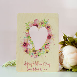 Personalised Wooden Mothers Day Card With Pink Flowers