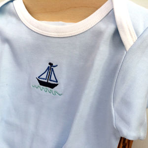 Baby T Shirt With Boat Motif
