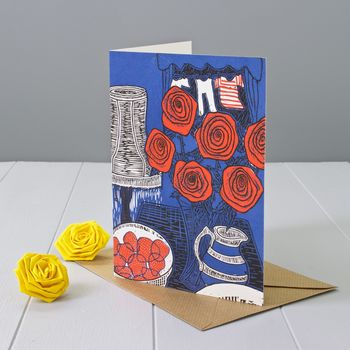 Roses And Strawberries Greeting Card