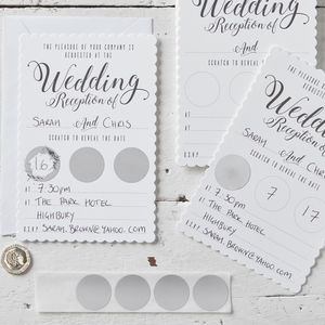 White Scratch The Date Wedding Reception Invitations - reply & rsvp cards
