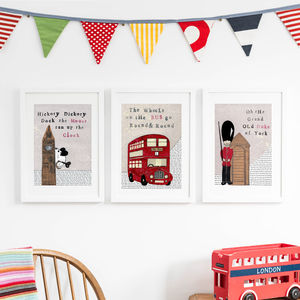 Set Of Three London Nursery Art Prints - maps & locations
