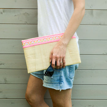 Raffia Straw Clutch Bag With Aztec Braid