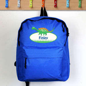Personalised Dinosaur Blue Backpack - children's accessories