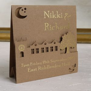 Bespoke Laser Cut Wedding Venue Invitation