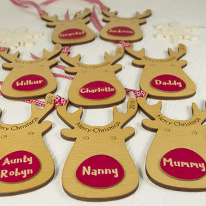 Eight Personalised Reindeer Gift Tags - cards & wrap