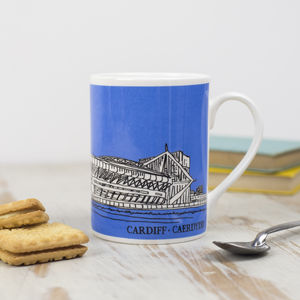 Cardiff Prinicipality Stadium Blue Bone China Mug