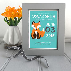 Personalised New Baby Framed Print - dates & special occasions