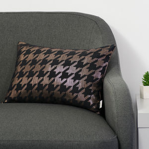 Metallic Dogtooth Cushion In Black And Copper
