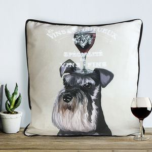 Miniature Schnauzer Cushion, Dog Au Vin Wine Gift - patterned cushions