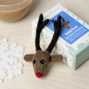 Rudolph The Reindeer Brooch Needle Felting Craft Kit - decoration making kits