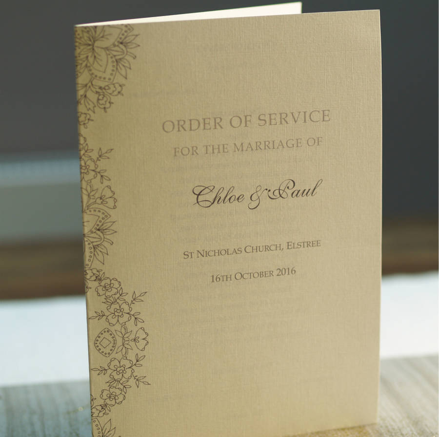 order of service lace design by beautiful day | notonthehighstreet.com