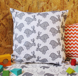 Grey Hare Nursery Cushion