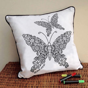Cushion To Colour In With Flying Butterflies