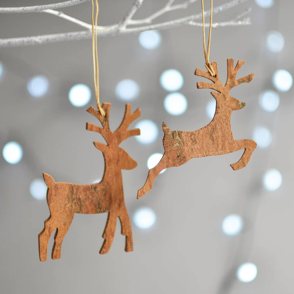 wooden cinnamon reindeer christmas decoration - Wooden Christmas Tree Decorations