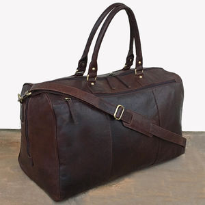 Large Handmade Brown Leather Holdall Travel Bag Gym Bag