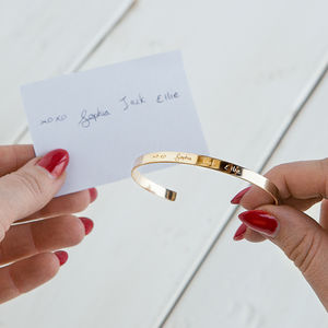 Your Handwriting Personalised Cuff Bracelet