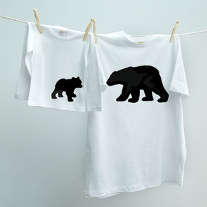 Matching Dad And Child Bear And Cub T Shirt Set
