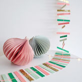 Glitter Gold Pastel Stripe Garland - christmas decorations