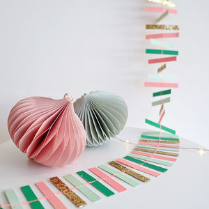 Glitter Gold Pastel Stripe Garland - children's room