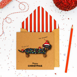 Handmade Christmas Dachshund Personalised Card Or Pack - christmas cards: packs