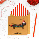Handmade Silly Sausage Dachshund Christmas Card Or Pack