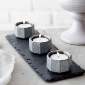 Steel And Slate Candle Trio - tableware
