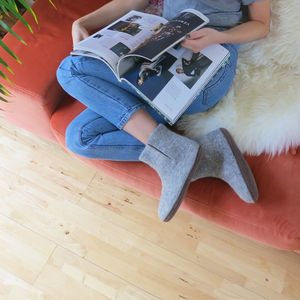 Bidi Handmade Felt Slipper Boots With Suede Sole - slippers